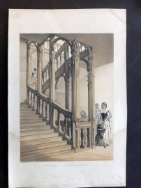 Charles Richardson 1840's Print. Staircase at Audley End - Essex